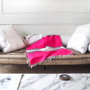 pink sofa throw