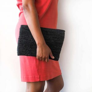 black straw clutch bag