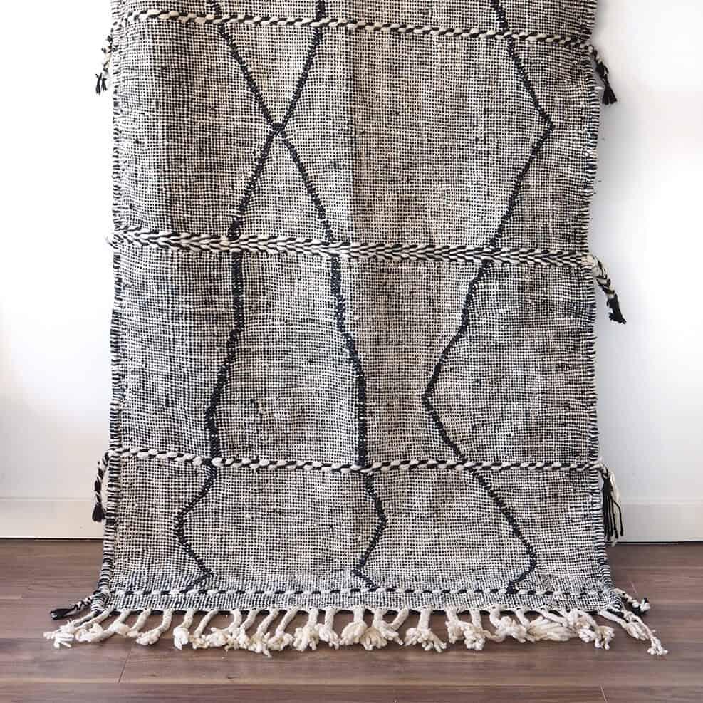 Vintage Moroccan Black & White Zanafi Rug