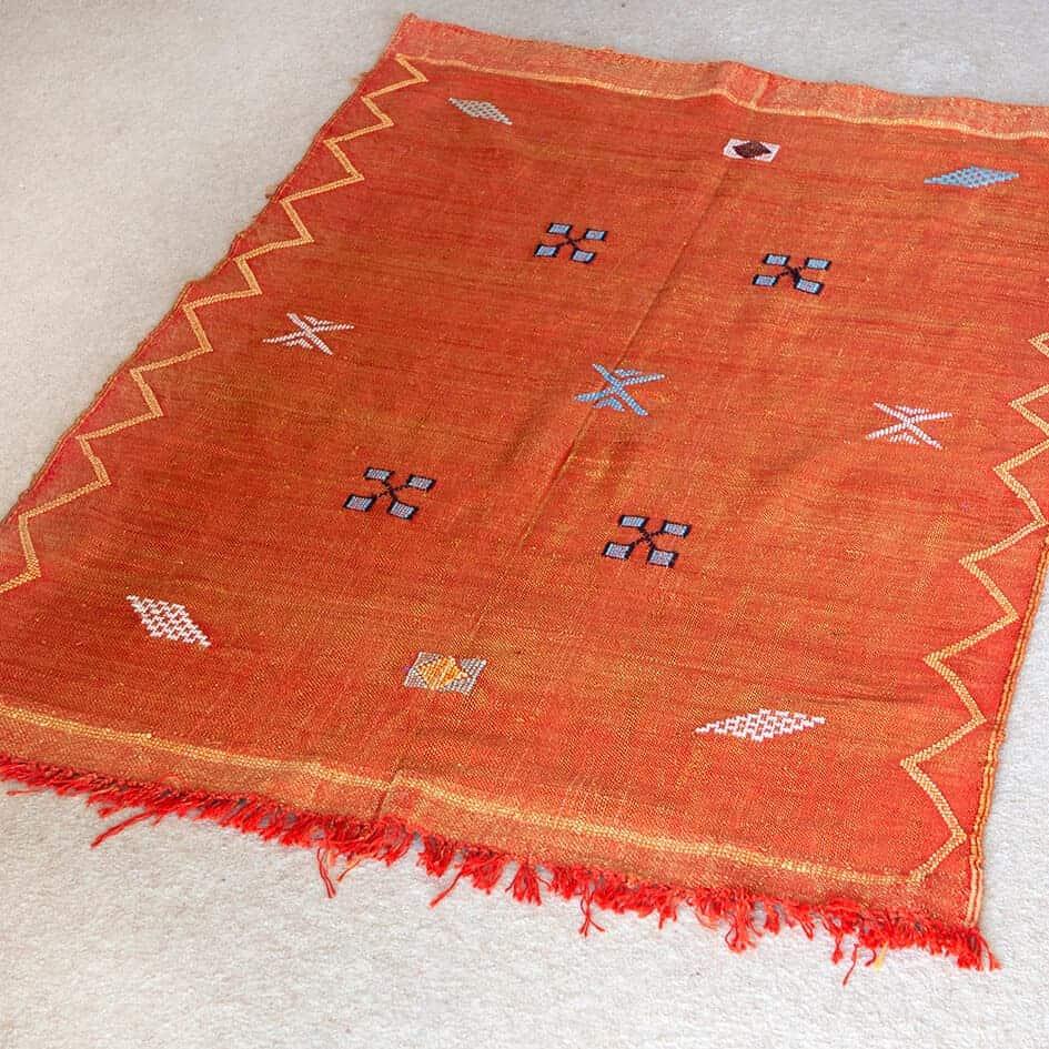 Vintage Orange Moroccan Woven Rug