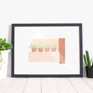 cacti wall print