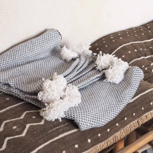 cloud grey pompom blanket