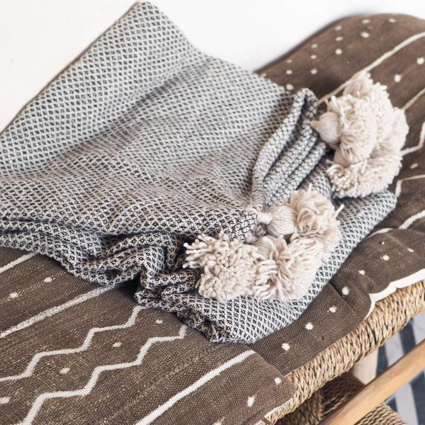 dove grey pompom blanket