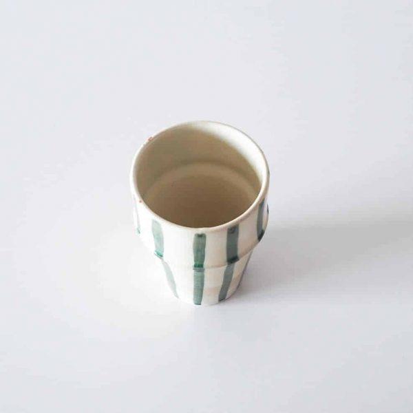 cream teal stripe cup