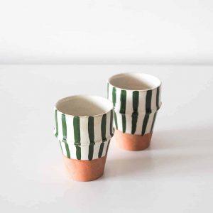 stripe espresso cups