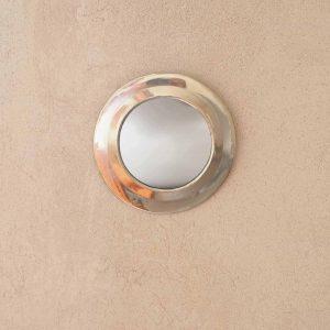 silver round mirror