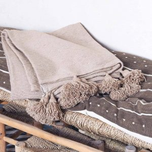 oatmeal pompom blanket