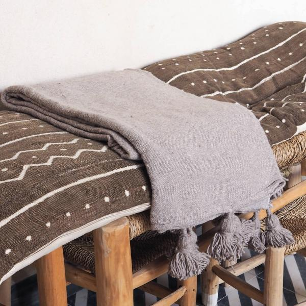stone grey pompom blanket