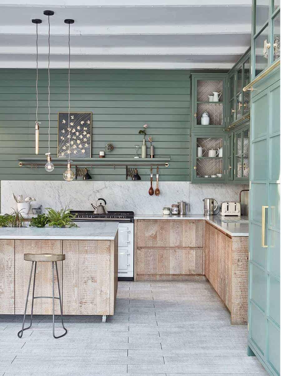 dusty turquoise kitchen