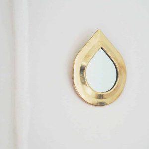 raindrop brass mirror