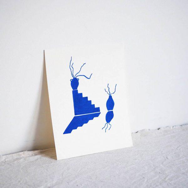 blue ceramic artwork